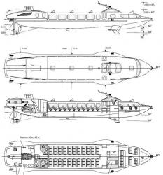 Судно на подводных крыльях для магистральных рек С