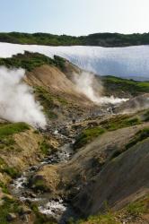 Выход горячих вод на поверхность земли вблизи Мутн