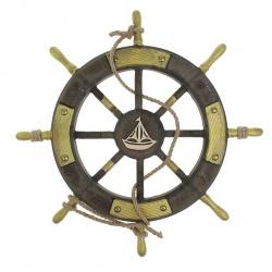 «Штурвал интерьерный с корабликом»