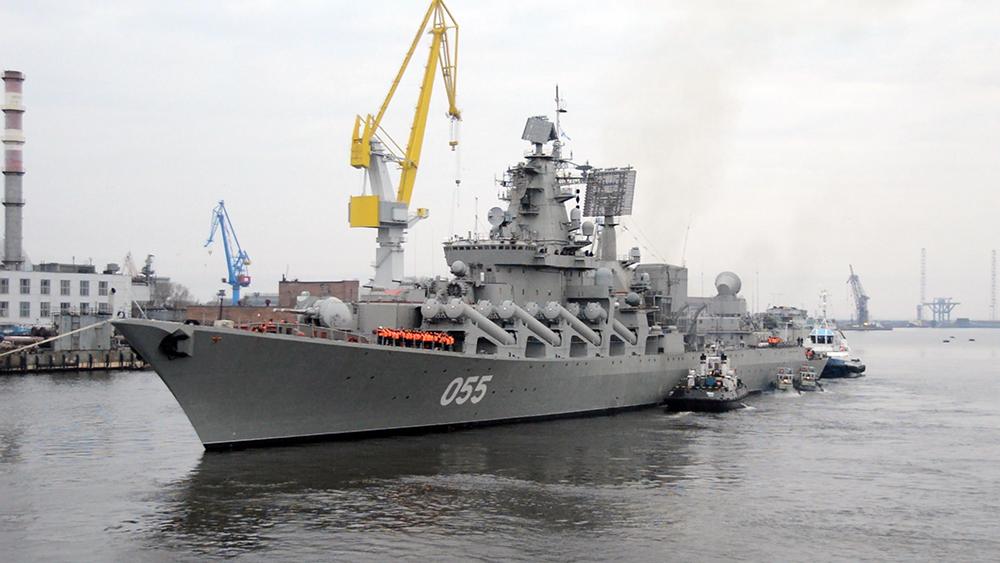 Ракетный крейсер «Маршал Устинов» вышел вморе