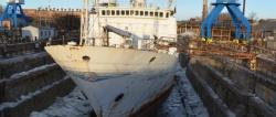 Начался доковый ремонт гидрографического судна