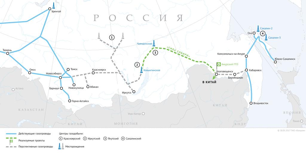 «Газпром» объявил озавершении 83% «Силы Сибири»